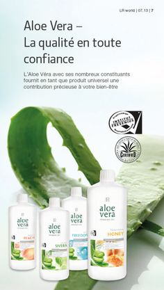Les quatre gel d'aloe vera de LR et des feuilles de la plante   Les Logo…