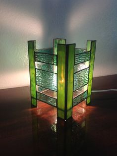 Green Stained Glass Lantern Style Lamp by TwistedVinesGlass, $60.00
