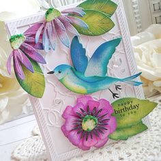 Some Cards, Get Well Cards, White Gel Pen, Beautiful Handmade Cards, Flower Center, Birthday Design, Bird Cards, Card Making Inspiration, Flower Cards