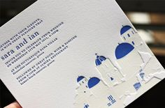 Invite for a wedding in the Greek Islands...LOVE LOVE! Spotted on Oh So Beautiful Paper. Printed by Bespoke Letterpress.