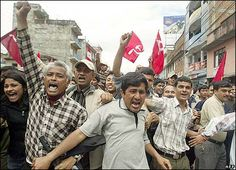 Protests in Nepal against King Gyanendra.