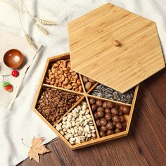 Natural bamboo Nuts Plate Creative points with cover Living room modern minimalist candy dish Snack dried fruit plate Type: Storage TraysMaterial: BambooFeature: Eco-Friendly Cool Kitchen Gadgets, Kitchen Items, Home Decor Kitchen, Kitchen Utensils, Cool Kitchens, Kitchen Storage, Kitchen Tables, Dry Fruit Box, Dried Fruit