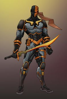An amalgam between Genji from overwatch and Deathstroke from DC comics. Comic Villains, Comic Book Characters, Comic Character, Comic Books Art, Character Design, Superhero Characters, Dc Deathstroke, Deathstroke The Terminator, Deathstroke Cosplay
