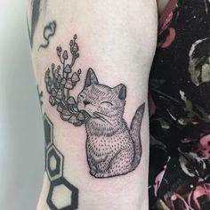Mushroom cat tattoo by Ayako Junko Osaki #AyakoJunkoOsaki #linework #etching…