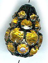 vintage rhinestone bead AMBER color 20mm by beadtopiavintage