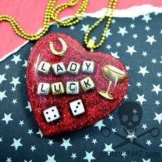LADY LUCK  Red Glitter Resin Heart by runningwithscissorss on Etsy, $21.95