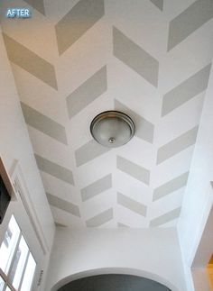 Herringbone pattern on the ceiling. Love how it makes the ceiling look angled! DIY tutorial