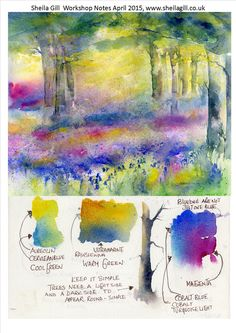 Watercolor workshop notes from May 2015 includes beautiful color transitions. Art Aquarelle, Art Watercolor, Watercolor Landscape, Watercolor Flowers, Watercolour Tutorials, Watercolor Techniques, Guache, Art Sketchbook, Art Tutorials