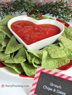 Grinch chips and salsa, Christmas movie marathon, Christmas movie night party ideas, Rudolph treats, Grinch Party, Grinch Christmas Party, Christmas Movie Night, Christmas Birthday Party, Movie Night Party, Christmas Snacks, Family Christmas, Christmas Cooking, Chrismas Party Ideas