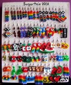 Perler beads earrings many styles u. Melty Bead Patterns, Pearler Bead Patterns, Perler Patterns, Beading Patterns, Melty Beads Ideas, Perler Earrings, Diy Perler Beads, Perler Bead Art, Bead Earrings
