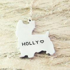 Yorkshire Terrier dog necklace dog pendant by Handmadenamenecklace
