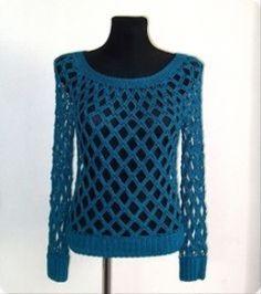 84708499625e1 Custom made crochet sweater - Eleven handmade crochets by Linda Skuja -make  short sleeved version