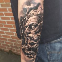 For hundreds of years, Greek mythology has inspired art, from literature to paintings. Lately, Greek gods have become popular tattoo designs. These gods tell the story of the human condition, represen. Zeus Tattoo, Statue Tattoo, Tattoo Arm Mann, Kopf Tattoo, Cloud Tattoo, Hercules Tattoo, Buho Tattoo, Mask Tattoo, Tattoo Ideas
