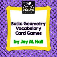 UNO-like card games reinforce basic geometry vocabulary! $ Joy of Teaching - mrsjoyhall.com