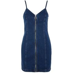 Topshop Moto Zip Denim Dress ($44) ❤ liked on Polyvore featuring dresses, indigo denim, body conscious dress, blue bodycon dress, blue dresses, indigo blue dress and zipper dress