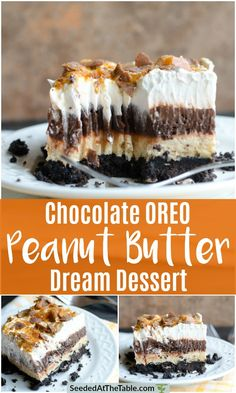 This is the BEST chocolate pudding Oreo dessert! This Chocolate Oreo Peanut Butter Dream Dessert is an Oreo crust with layers of chocolate pudding and peanut butter cream cheese topped with whipped cream and crushed Butterfingers. Potluck Desserts, Peanut Butter Desserts, Köstliche Desserts, Delicious Desserts, Dessert Recipes, Desserts With Oreos, Peanut Butter Chocolate Pie, Butter Finger Dessert, Chocolate Pudding Desserts