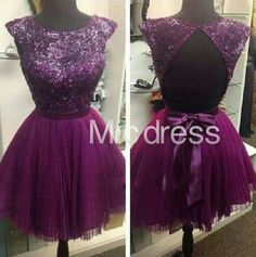 Purple Sequins Short/Mini Tulle Homecoming Dresses A-Line Short Prom Dress