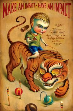 """Tiger Boy Croquet Ball"" Poster by Chris Buzelli (2009)"