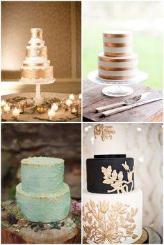 Gilded Wedding Cakes {photos by: Jana Williams Photography; Karen Buckle Photography; Vasia Photography; Loves a Big Deal}
