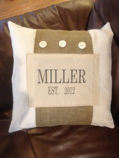 Natural Burlap throw pillow cover Personalized with name and wedding date. $19.99, via Etsy.