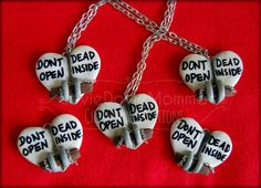 Sale // Dont Open Dead Inside - Polymer Pendant - Heart-Shaped Zombie Necklace - Walking Dead Inspired $18.50 @Etsy