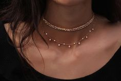 14kt gold diamond cut beaded choker – Luna Skye