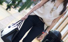 A Few Of My Favorites-comfy skinny jeans, statement necklace, oversized tote, silk blouse | STYLE'N