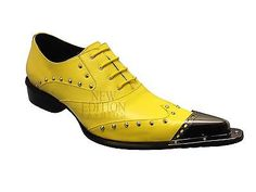 Zota Unique Men's Leather With Metal Tip European Design Shoes G908-34 Yellow