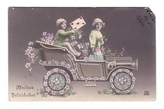 Vintage Postcard Real Photo Hand Tinted Children in Car (Postcards ...