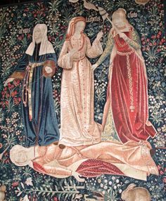 "medieval: "" Tapestry ""The Triumph of Death, or the Three Fates"" with a typical mille-fleurs background, Flemish, c. Medieval Tapestry, Medieval Art, Renaissance Art, Medieval Life, Roman Mythology, Greek Mythology, Norse Mythology, C G Jung, Wow Art"