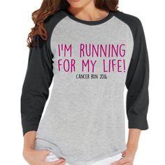Women's Race Day Shirt - Running For My Life Shirt - Custom Cancer Awareness Top - Grey Raglan Shirt - Women's Baseball Tee - Running Shirt