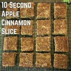 10 Second Apple Cinnamon Slice Healthy Slice, Healthy Cake, Healthy Baking, Healthy Snacks, Healthier Desserts, Healthy Breakfasts, Apple Recipes, Sweet Recipes, Radish Recipes