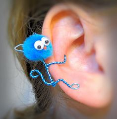 Ear Cuff  Kitty Cat Wire Wrap Pompom Google by CreativeCaboodle, $15.00