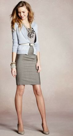 Beautiful Grey Suit. I like the cardigan paired with the dress and the floral detail of the neckline