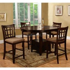Cappuccino Counter Height Dining Room Set 1287-ch-dr-set by World Imports. $587.75. This dining room collection offers the flexibility many require for the more intimate dining spaces in todayâ?TMs homes. The 42 to 60 inch extendable dining table and chairs will balance with your home decor. Dining collection features cappuccino finish on veneers and select hardwoods.