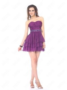 A-line Sweetheart Chiffon Short/Mini Lilac Beading Party Dress