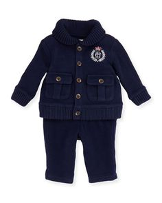 Ribbed Shawl Collar Cardigan & Pant Set, Navy, 3-12 Months  by Ralph Lauren Childrenswear at Bergdorf Goodman.