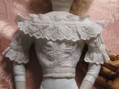 "Antique Cotton Whitework Enfantine French Fashion Blouse 18"" Doll Poupee Modele | eBay"