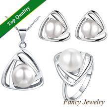 Platino plateado Azora Murano cuentas de perlas de plástico encaja 925 pendiente de plata esterlina conjunto con colgante chapado en oro rosa JewelryT266(China (Mainland))