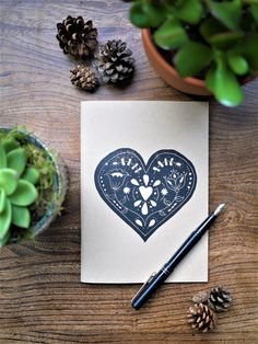 Folk Heart A5 Kraft Sketchbook Notebook Lino by TheBlackPugPress