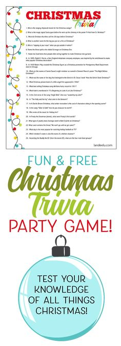 Download and print this fun Christmas trivia game and see which party guests know the most about Christmas! Easy and fun Christmas party game! #christmastrivia #christmasgame #christmasprintables