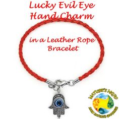 Red Lucky Evil Eye Hand Charm in a Leather Rope Bracelet