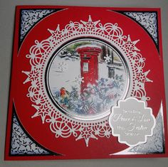 Christmas card with hunkydory picture and  die cut border