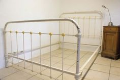 Antique French Double Bed White Shabby Chic Iron 4 ft 6 Metal ESSEX in Antiques, Antique Furniture, Beds, 20th Century | eBay