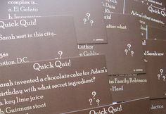 Funny questions about us for our wedding reception to get the table conversations started, using our color palette. Wedding Cards, Our Wedding, Wedding Wows, Wedding Rustic, Dress Wedding, Wedding Party Games, Fun Drinking Games, Family Cake, Card Games For Kids
