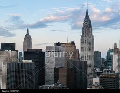 Manhattan skyscrapers including the Empire State Building and Chrysler Building, Manhattan, New York City, New York, USA