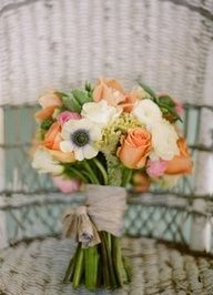 melon and pewter wedding colors. LOVE THESE!!!