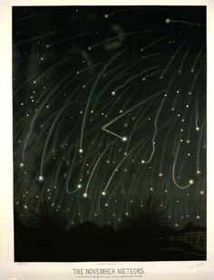 The November Meteors by E.L. Trouvelot, 1868 A chromolithograph of the November meteors as observed between midnight and 5 a .m. on the night of November 13-14 1868.