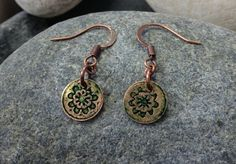 Small Copper Etched Green Colored Earrings by campbellcreation, $12.00