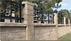 Retaining Wall Fence - Block Style Cast Stone - fencepicturesdotorg